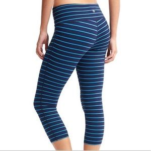 Athleta Chaturanga Blue Striped Cropped Leggings
